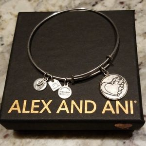 Alex and Ani silver bangle Open Heart